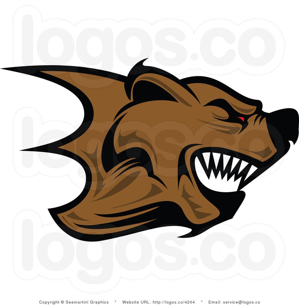 Royalty Free Angry Bear Logo.