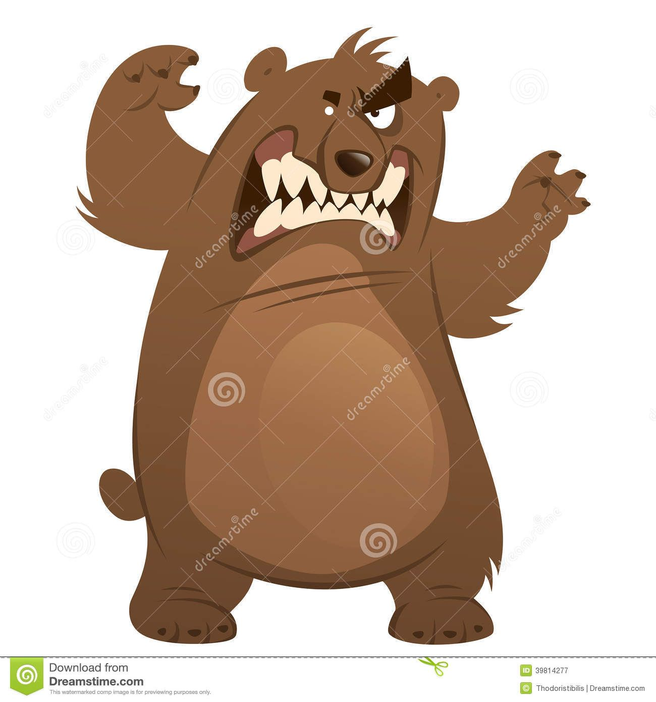 Angry And Funny Cartoon Brown Grizzly Bear Making Attacking.