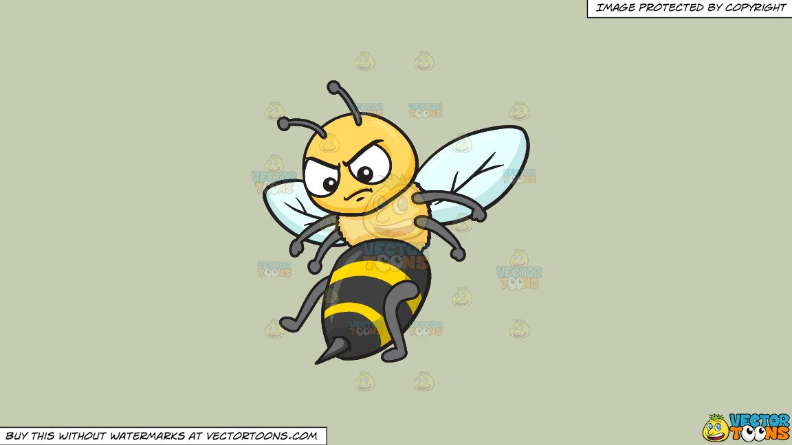 Clipart: An Angry Bee on a Solid Pale Silver C6Ccb2 Background.