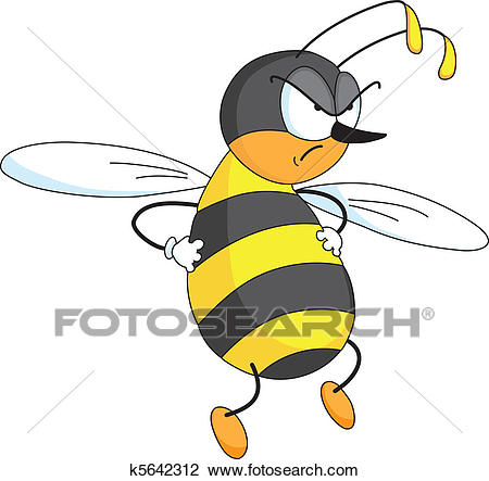Angry bee Clipart.