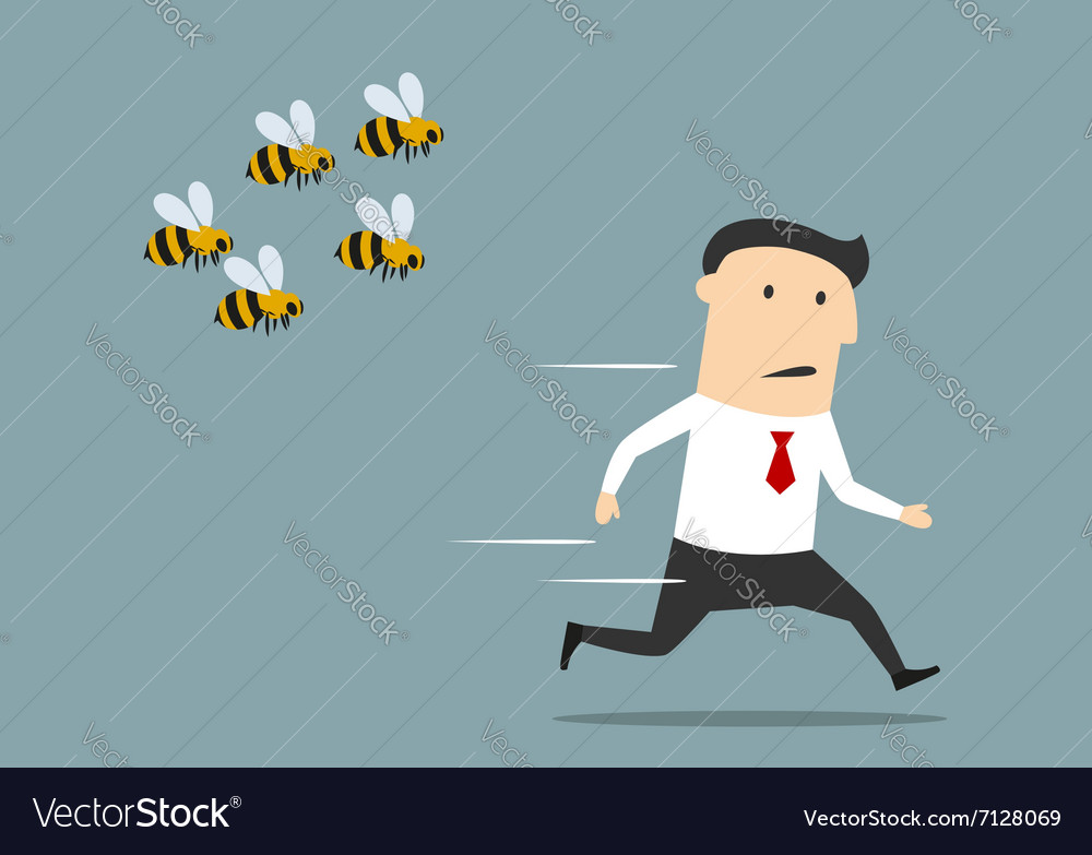 Businessman running away from angry bees.