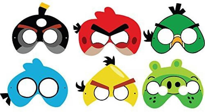 PARTY PROPZ ANGRY BIRD BIRTHDAY DECORATION/ EYE MASK SET OF 10.