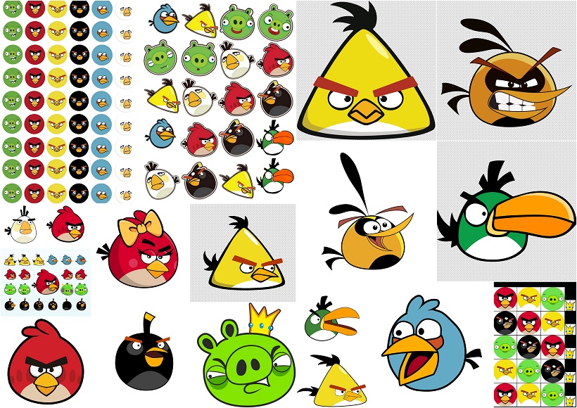 Free Printable Angry Birds Stickers, Toppers or Labels..