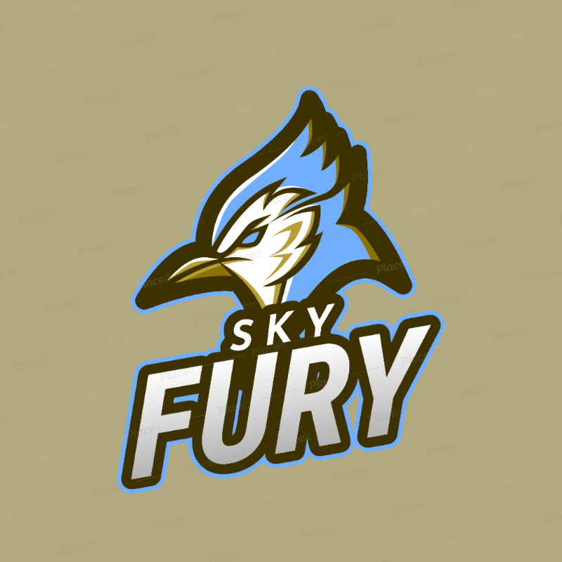 Sports Logo Template Featuring an Angry Blue Jay Clipart 2693n.