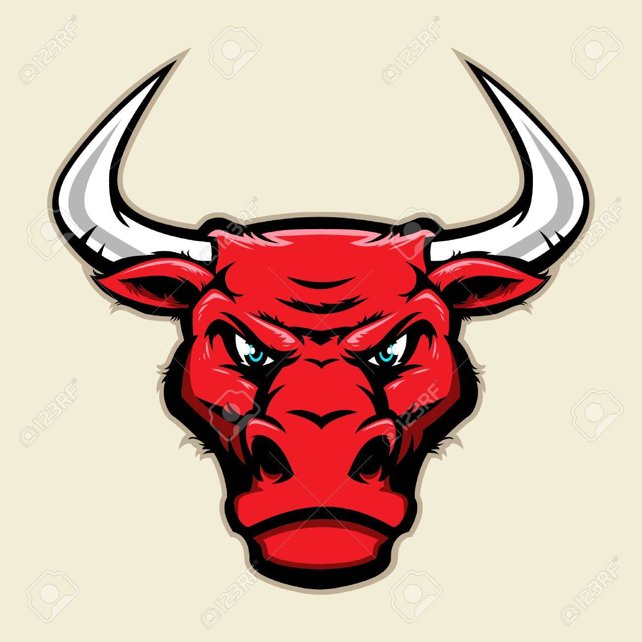 Angry bull head mascot.