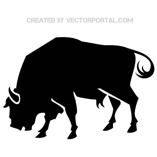 Raging Bull Silhouette Free Vector.