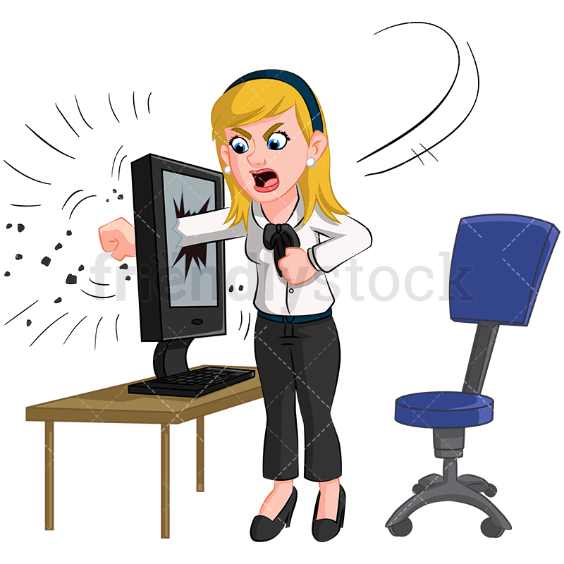 Download Free png Angry Businesswoman Destroying Computer.