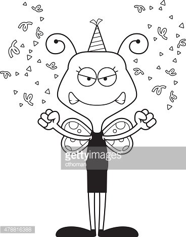 Cartoon Angry Party Butterfly premium clipart.