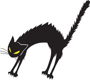 Black Cat Clipart Image: Angry, hissing black cat with arched back.