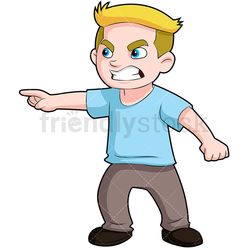 An Angry Young Boy Pointing His Finger At Something And Scowling.