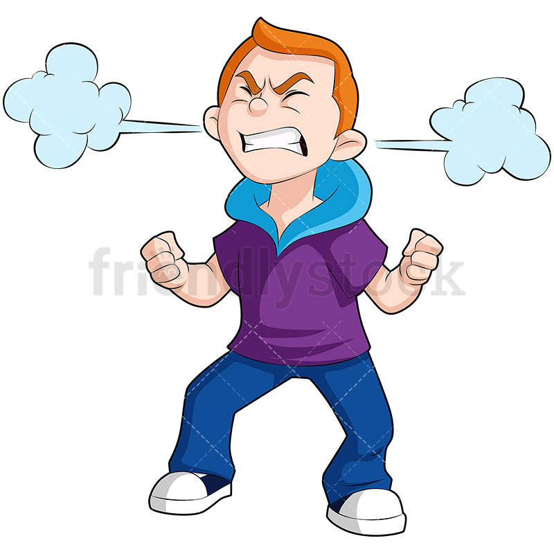 A Boy With An Enraged Expression And Steam Clouds From His Ears.