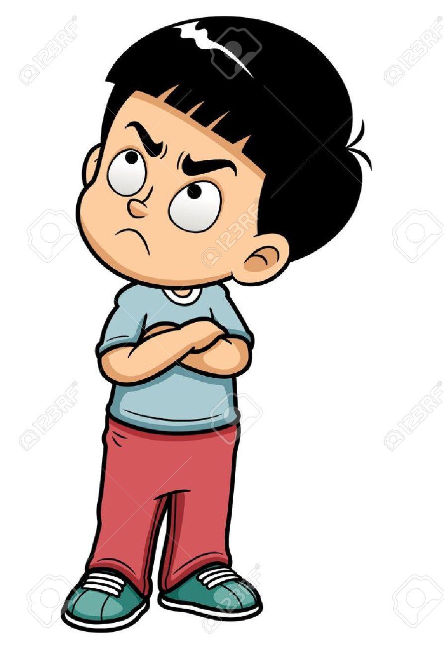 illustration of Angry teenage boy.