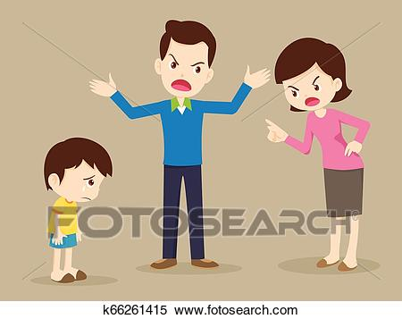 Angry family quarreling with sad child Clipart.