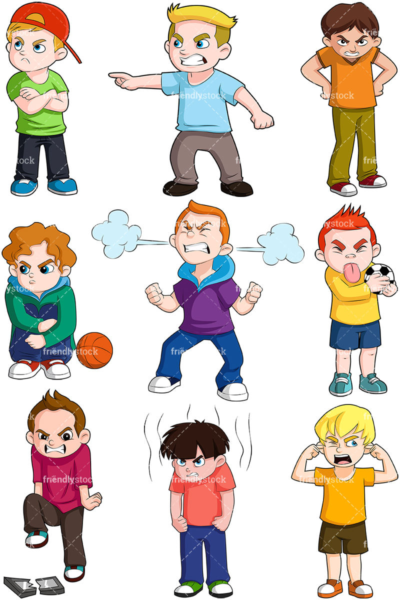 Angry Boys Cartoon Vector Clipart.