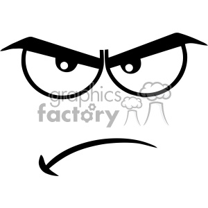 10909 Royalty Free RF Clipart Black And White Angry Cartoon Funny Face With  Grumpy Expression Vector Illustration clipart. Royalty.