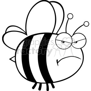 6546 Royalty Free Clip Art Black and White Angry Bee Cartoon Mascot  Character clipart. Royalty.