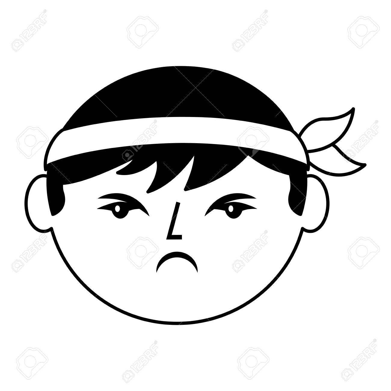 cartoon face angry chinese man vector illustration black and...