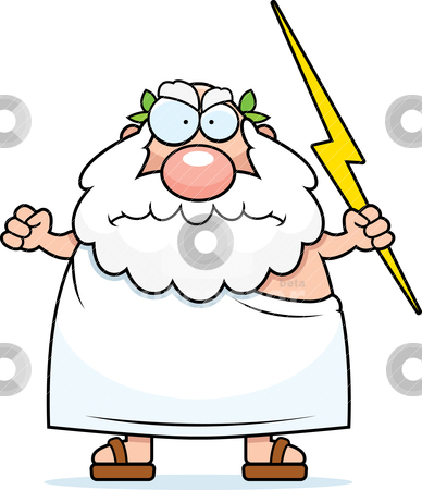 Angry Greek God stock vector.