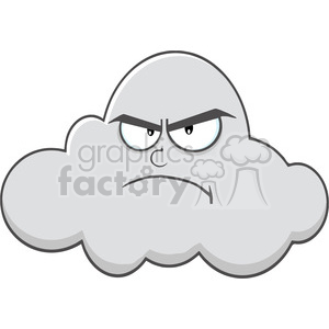 Royalty Free RF Clipart Illustration Angry Cloud Cartoon Mascot Character  clipart. Royalty.