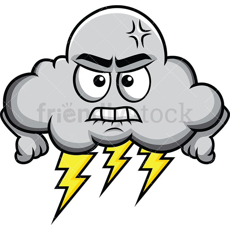 Storm And Thunder Angry Cloud Emoji.