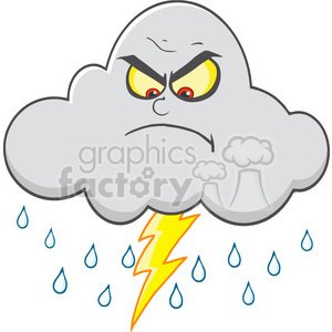 Royalty Free RF Clipart Illustration Angry Cloud With Lightning And Rain  clipart. Royalty.