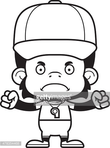 Cartoon Angry Coach Chimpanzee Clipart Image.