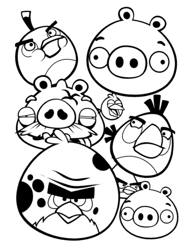 Angry Birds coloring page.