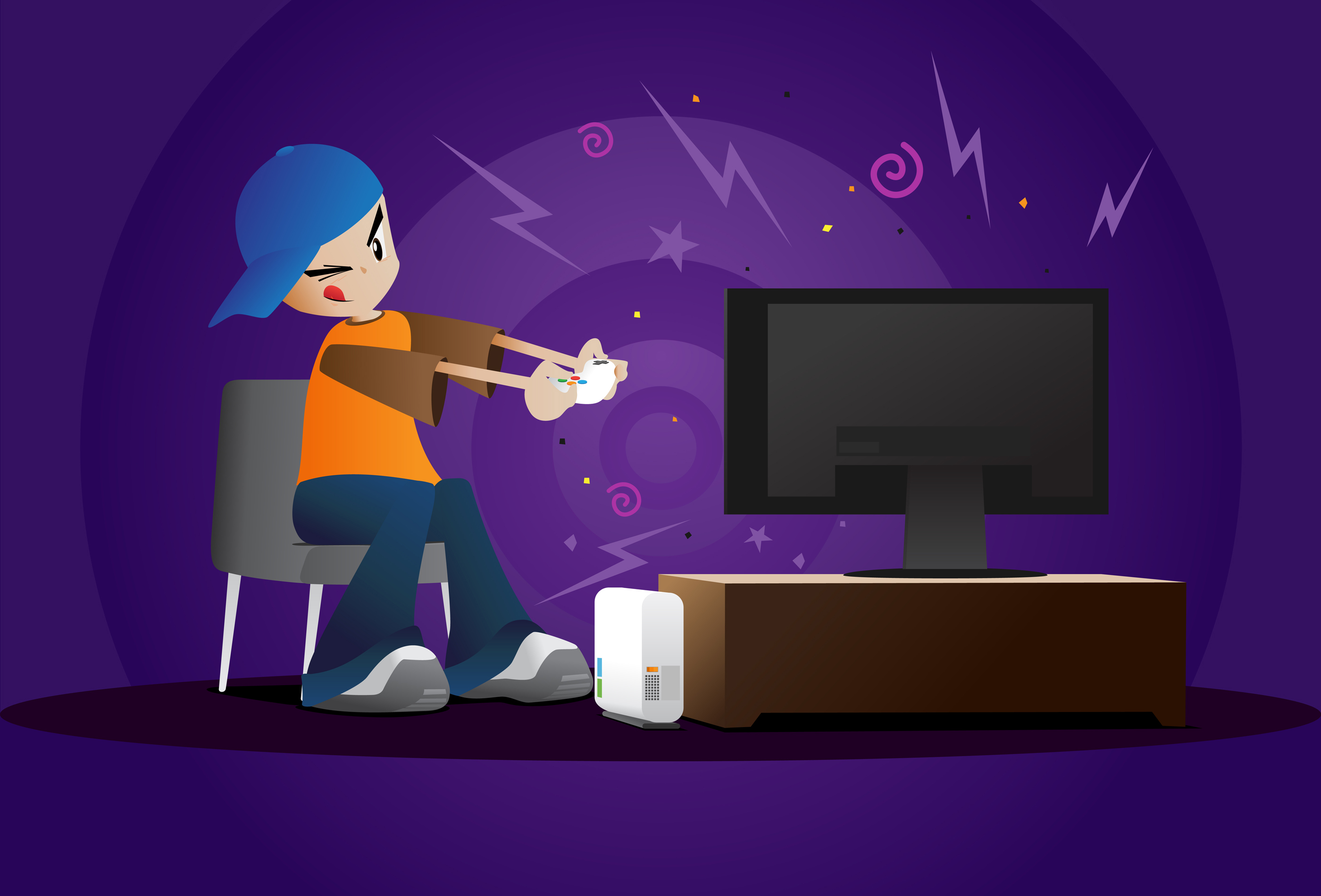 Guy Playing Video Games Clipart.