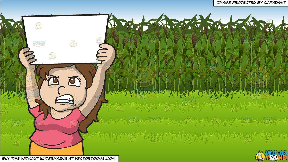 clipart #cartoon An Angry Woman In Protest and Corn Field.