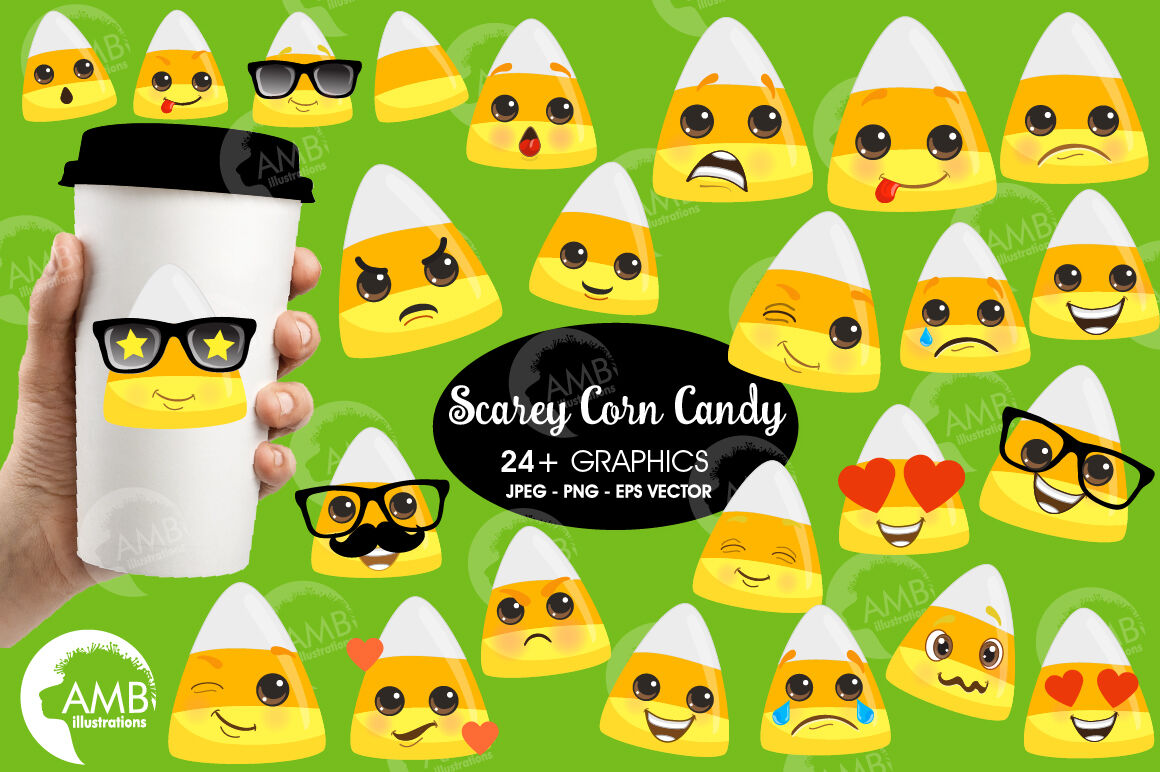 Scary candy clipart, cute candy, candy corn, Halloween, AMB.