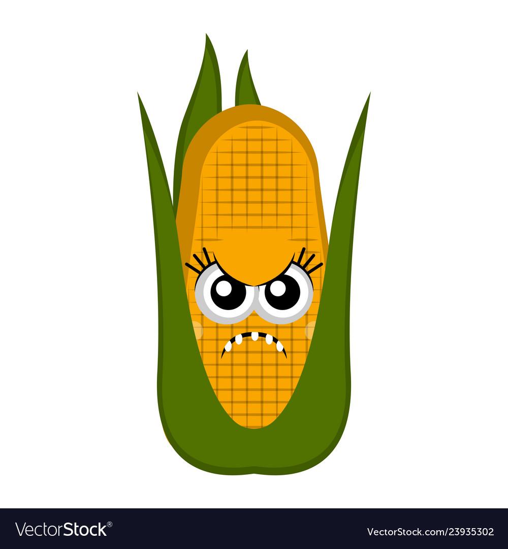 Angry corn cob cartoon.