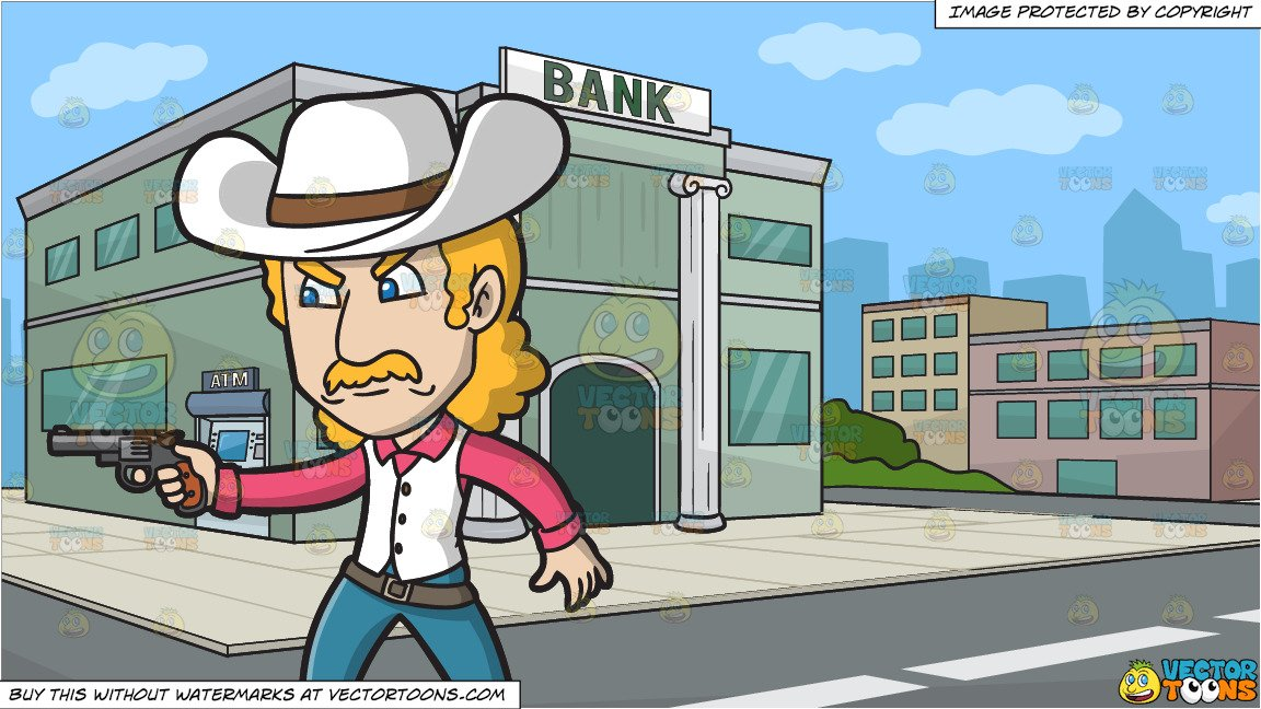 An Angry Cowboy Pointing A Pistol and Outside A Bank Background.