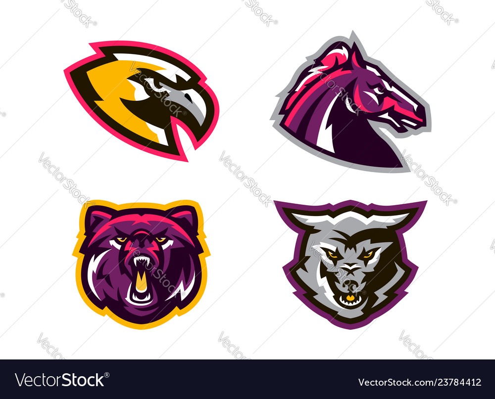 Collection of animal logos a wolf a coyote a.