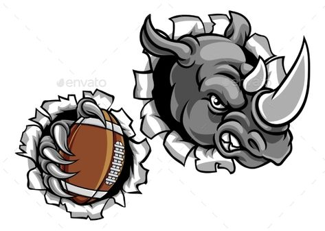 Rhino American Football Breaking Background #American.