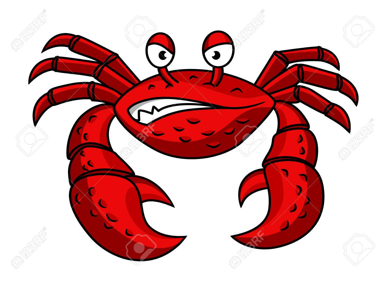 Cartoon red crab characterwith angry emotions isolated on white.