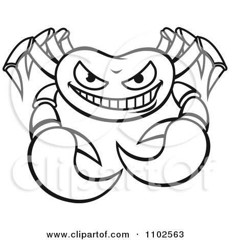 Clipart Outlined Angry Crab 2.