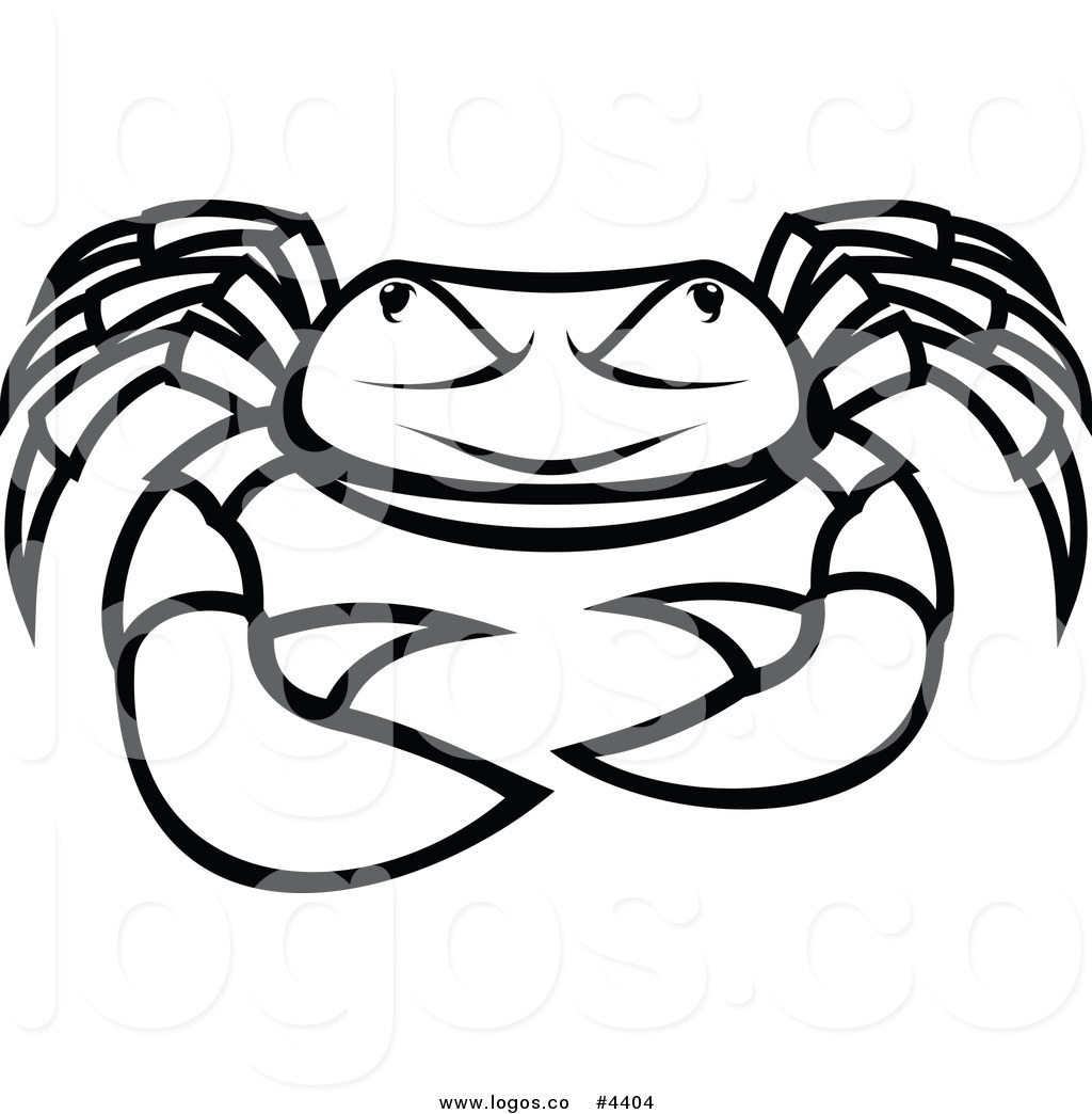 Royalty Free Angry Black and Whtie Crab Logo by Vector.