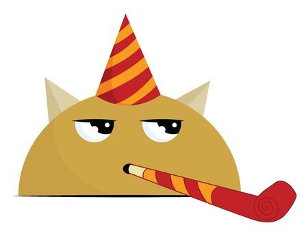 An angry birthday monster with a party hat that is red and.