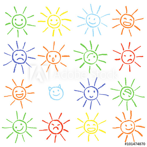 Colorful crayon chalk funny sun with smile. Colorful pastel.