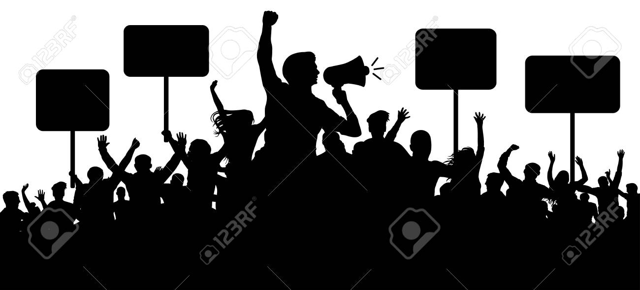 Crowd of people silhouette vector. Transparent, protest slogans.