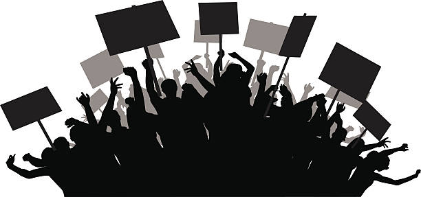protest Revolution clipart angry crowd pencil and in color.
