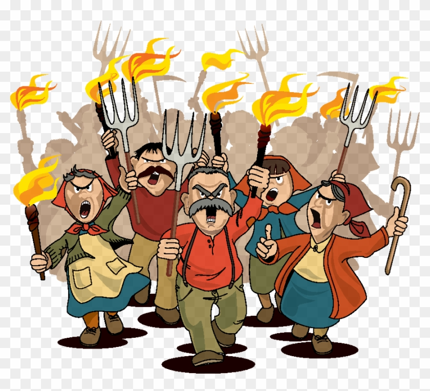 Pitchfork Clipart Angry Crowd.