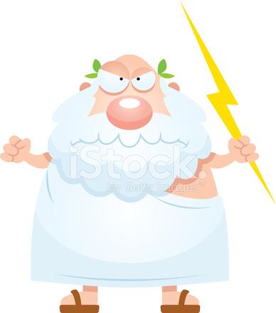 Angry Cartoon Greek God Stock Vector.