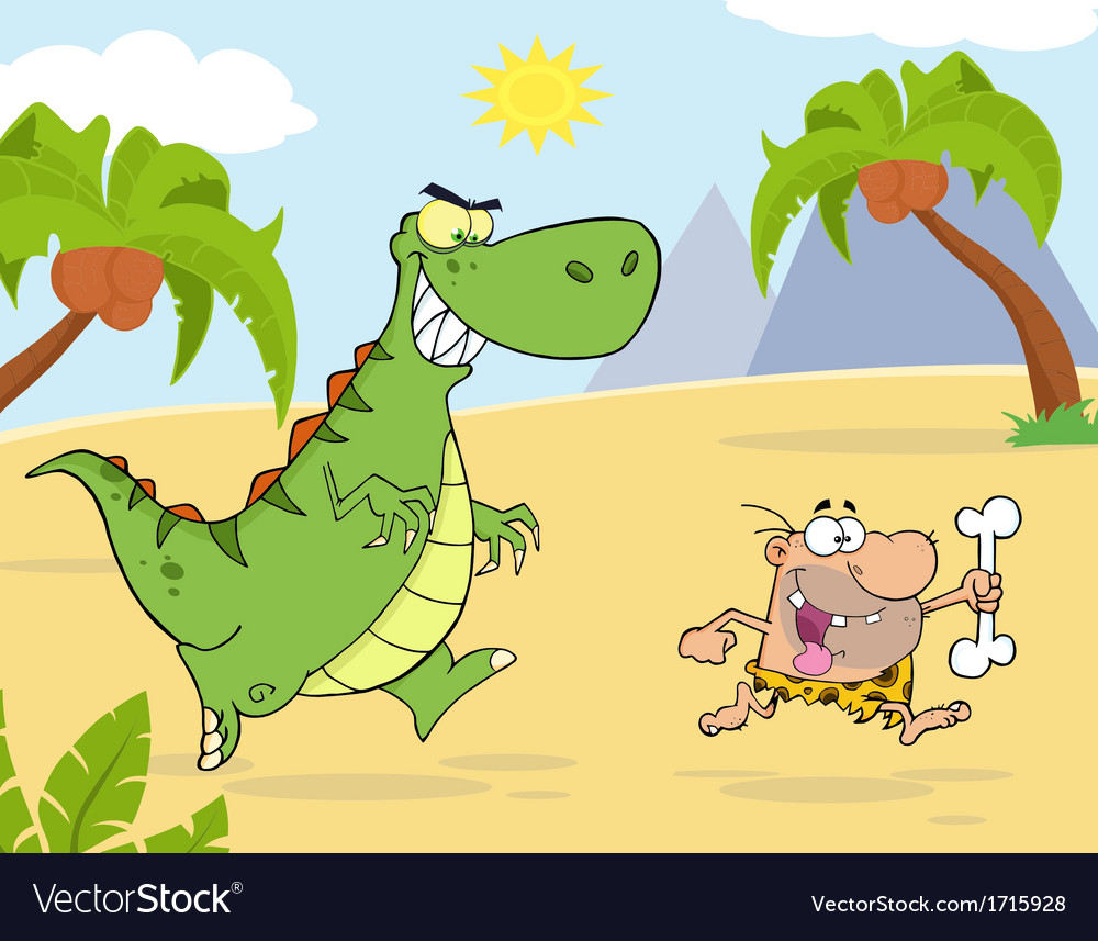 Royalty Free RF Clipart Angry Dinosaur Chasing.