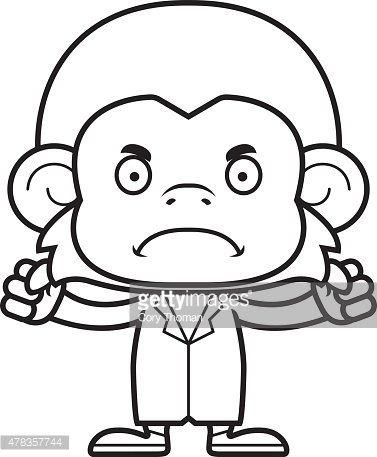 Cartoon Angry Doctor Monkey Clipart Image.