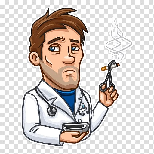 Sticker Telegram Skepticism Emoji , mad doctor transparent.