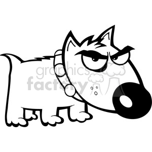 black white angry dog clipart. Royalty.
