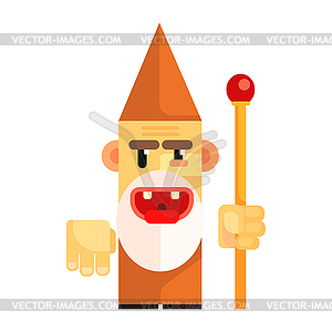 Cartoon angry dwarf holding staff in his hands..