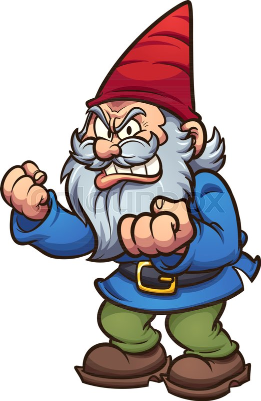 Angry cartoon gnome. Vector clip art.