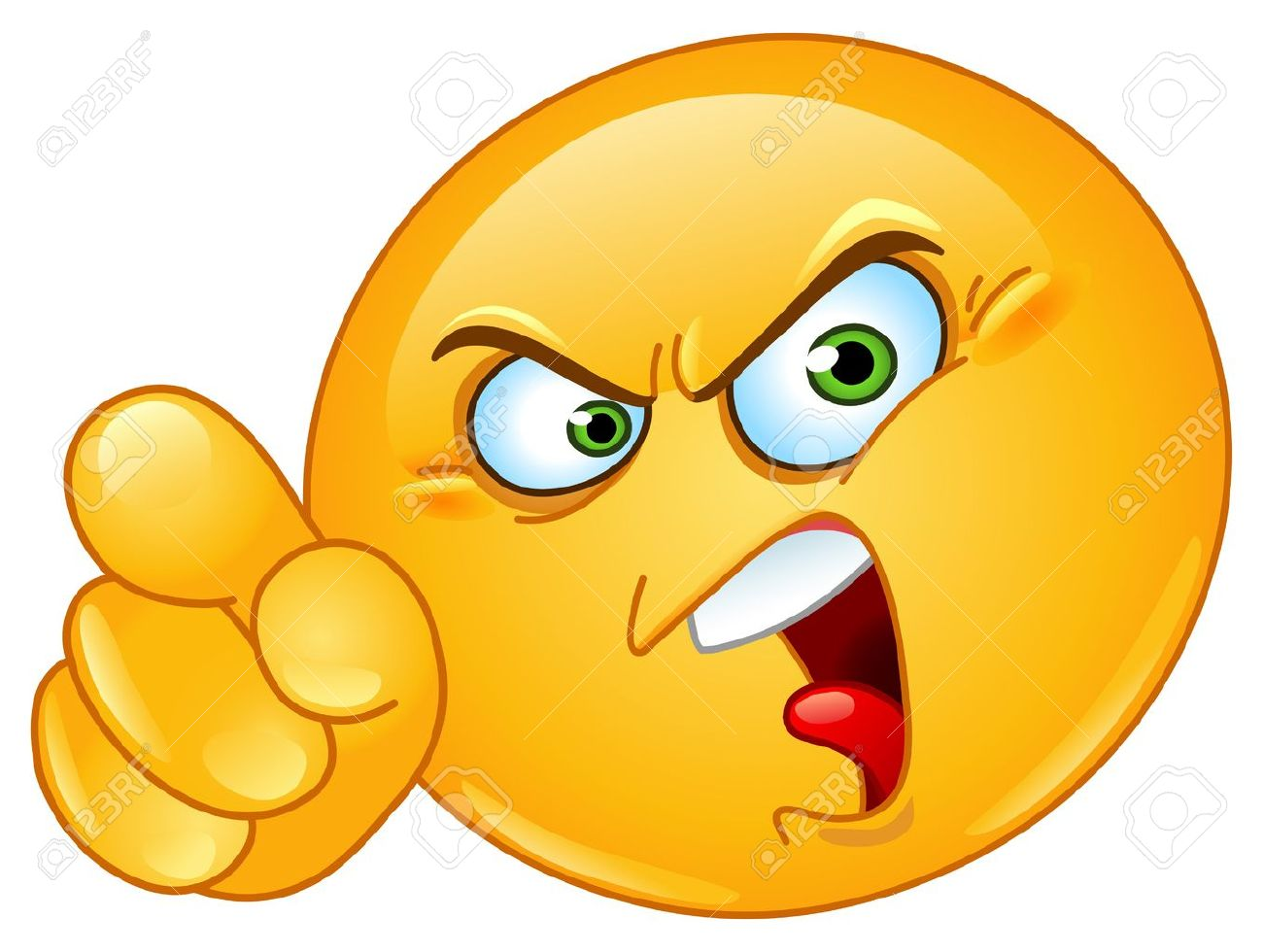 Angry emoticon pointing an accusing finger.